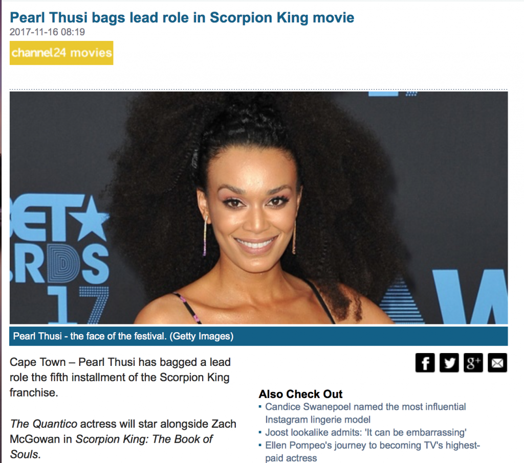 Pearl Thusi bags lead role in Scorpion King movie